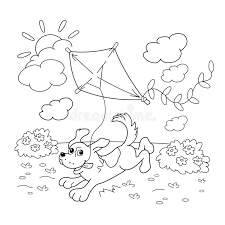 coloring outline cartoon dog kite coloring book