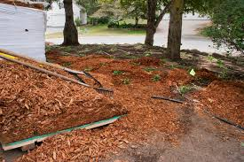 a yard with poor drainage is regraded to prevent water damage to a