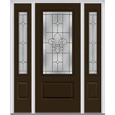 glass outside door mmi door 64 5 in x 81 75 in carrollton decorative glass 3 4 lite