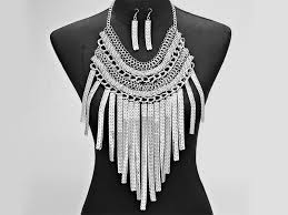long silver statement necklace images Cascading chain fringe statement necklace set jewel addicts jpg