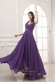 long chiffon halter bridesmaid dresses long purple chiffon prom