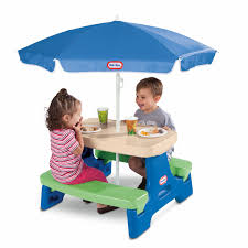 store jr play table with umbrella blue green