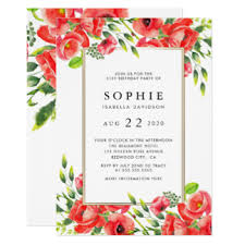 gold red flowers birthday invitations u0026 announcements zazzle com au