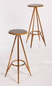 Mid Century Modern Bar Stool Pair Mid Century Modern Bar Stools Walnut Tops Copper Clad Legs