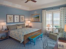 beach inspired rustic master bedroom desgin with blue wall