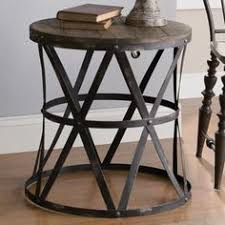 iron and wood side table brentwood round end table design pinterest round end tables