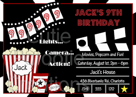 movie birthday invitations movie night by cutiestiedyeboutique
