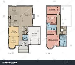 Two Storey Floor Plans Two Storey Floor Plan Colored Room Stock Illustration 110239145