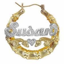 hoop earrings with name two tone bamboo name hoop earrings in sterling silver with 24k