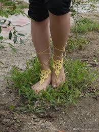 2017 crochet barefoot sandals bridal foot jewelry beach wedding