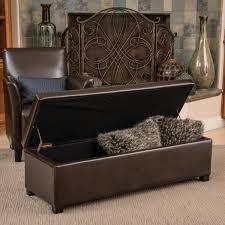 Storage Ottoman Bench Lucinda Brown Bonded Leather Storage Ottoman Bench By Christopher