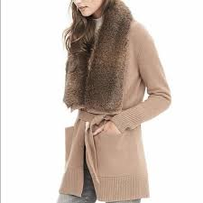 sweater with faux fur collar 43 banana republic sweaters nwt br faux fur collar sweater