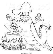 vector of a cartoon gator making soup outlined coloring page