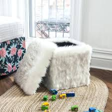 faux fur ottoman with storage extraordinary white faux fur ottoman chic home modern faux fur