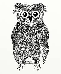 zentangle owl digital drawings