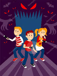 halloween house clipart kids in the haunted house clipart u2014 stock vector jacklooser
