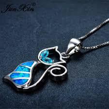 necklace brand images Junxin 2017 new brand design women cat necklace blue fire opal jpg