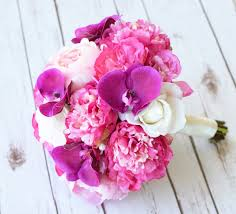 peonies bouquet fuchsia touch peonies and orchids bouquet