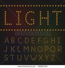set broadway light bulb letters isolated stock illustration