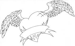 heart wings banner coloring pages coloringstar