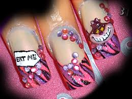 alice in wonderland cheshire cat 3d acrylic nail art design