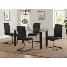 side chairs for dining room coaster everyday dining black and chrome side chair set of 4