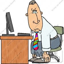 Business Computer Desk Sick Or Depressed Business Slouching While Sitting At A