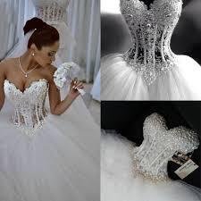 aliexpress com buy luxury sheer lace wedding dress corset