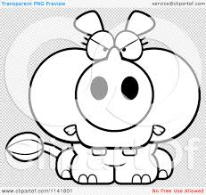 cartoon clipart of a black and white mad rhino vector outlined