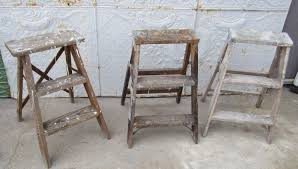 small step old rustic wooden ladders with 3 steps
