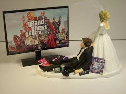 gamer wedding cake topper gamer gta 5 ps3 and groom wedding cake topper
