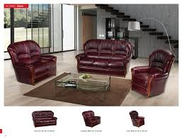 Burgundy Living Room Furniture by Sara Full Leather Leather Classic 3 Pcs Sets Living Room Furniture
