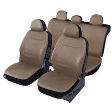 housse pour siege auto housses de siège en simili cuir beige taupe fractionnables 1 2 1 3