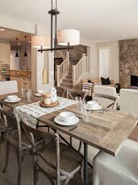 Carpeted Dining Room Contemporary Dining Room With Carpeted Steps Pendant Light