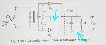 diodes full wave rectifier with capacitor filter electrical
