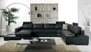 Modern Living Room Design With Minimalist Black Leather Sofa Idea
