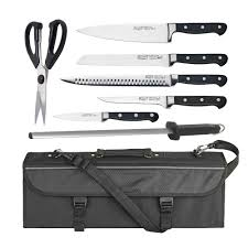 professional grade kitchen knives winco 7 commercial grade stainless steel knife set w bonus