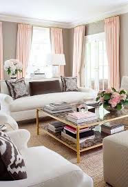 Gold Curtains Living Room Inspiration Neutral Taupe Walls Blush Pink Accents Living Room