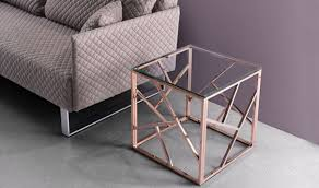 cage modern side table in rose gold by zuo get furniture