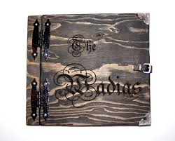 engravable guest book wedding guest book rustic wooden book with personalized