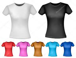 black and white and color woman polo t shirts design template