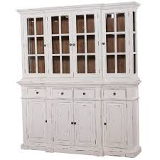 Distressed White Kitchen Hutch Large White Distressed Buffet Hutch Display Cabinet Cottage B In