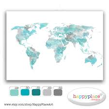 Etsy World Map by Aqua Large Travel World Map Digital Printable Map With