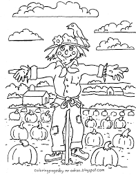 coloring pages kids adron printable harvest scarecrow