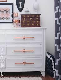 diy dresser ansley designs white and copper dresser with diy handles