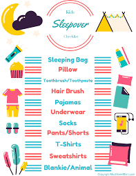 kids sleepover checklist free printable must have mom