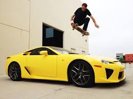 lexus f series yellow tony hawk jumps over lexus lfa in skateboard stunt lexus enthusiast