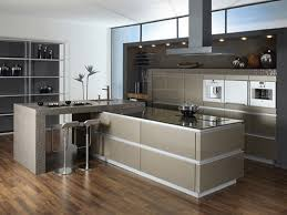 kitchen dark brown wood tall cabinets white plywood countertops