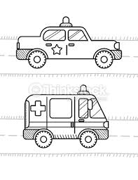 cars coloring book kids ambulance police vector art thinkstock