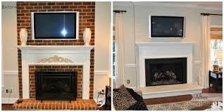 painted brick fireplace before u0026 after paint the brick the same